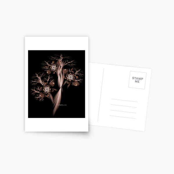 Sepia Fractal Tree with Blooms Postcard
