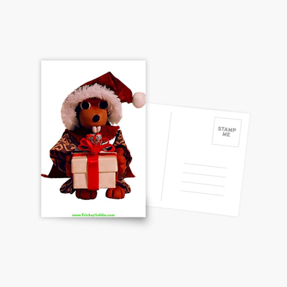Lucky the Beaver Solstice Card Postcard