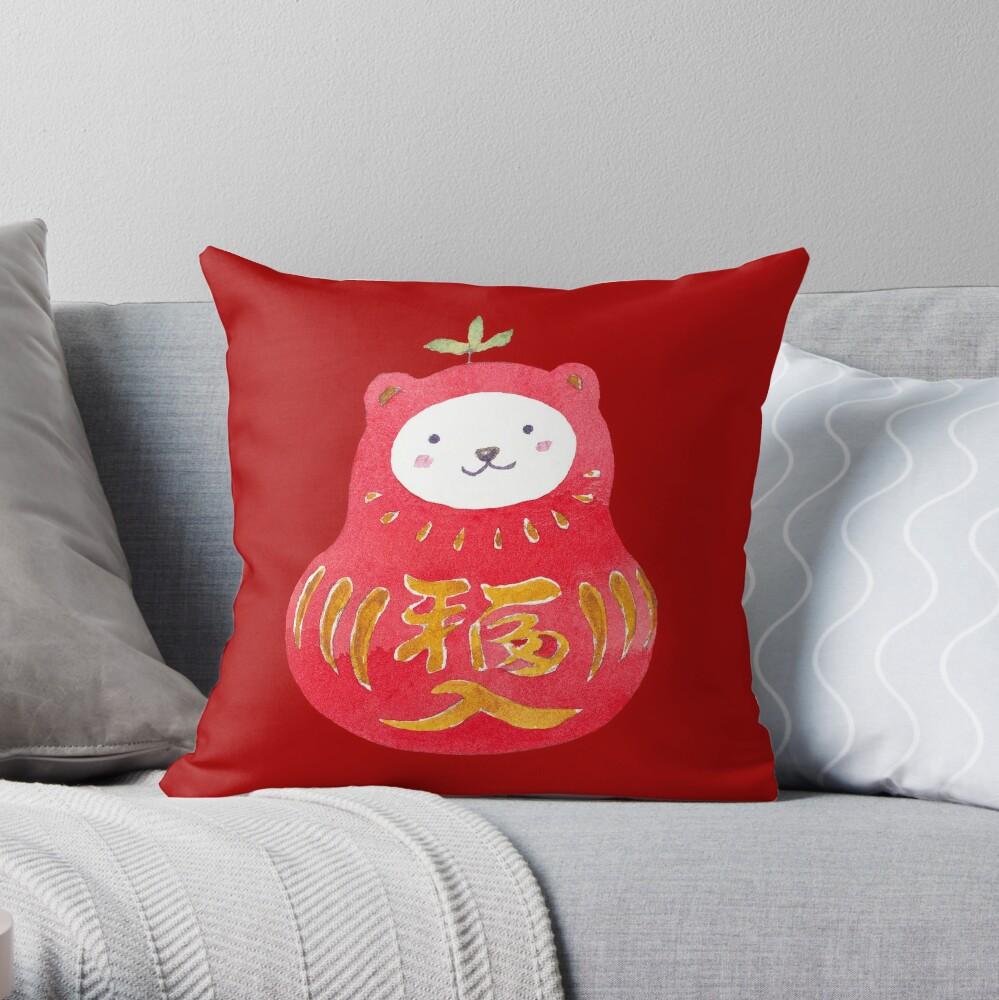 Lucky Daru-Kuma Throw Pillow