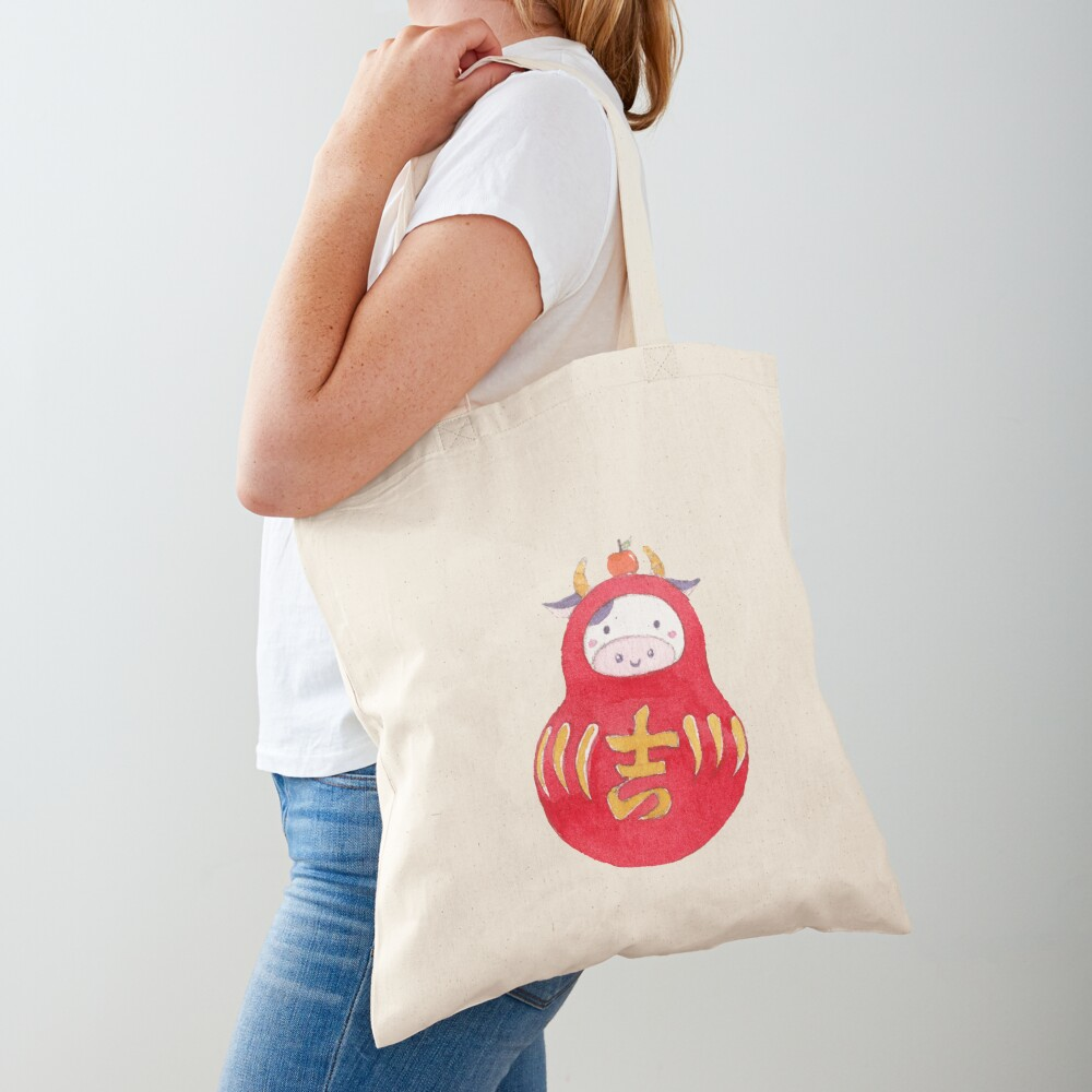 Lucky Cow Daruma Tote Bag