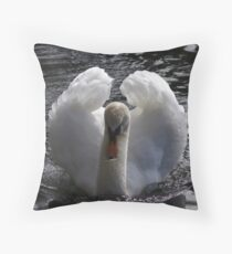 Swan on the lake Throw Pillow