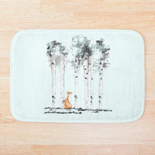 fox and birchs watercolor Bath Mat