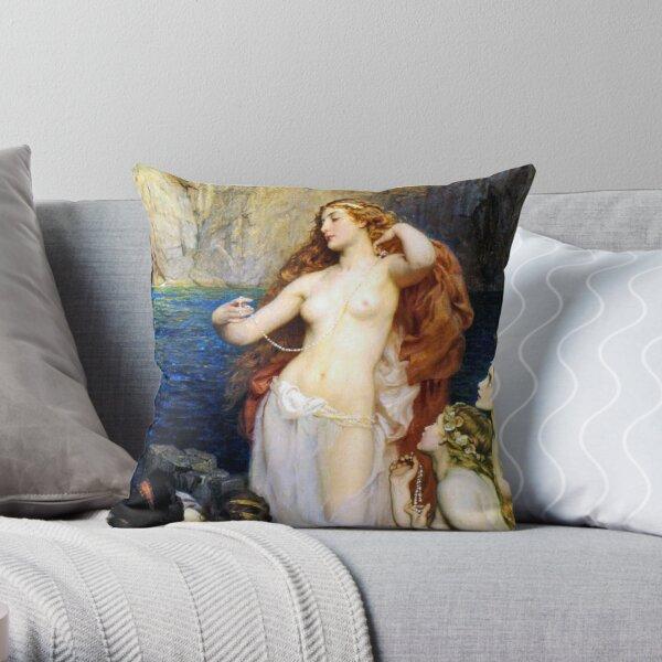 The Pearls Of Aphrodite – (Herbert James Draper)  Герберт Дрейпер - Жемчуг Афродиты Throw Pillow