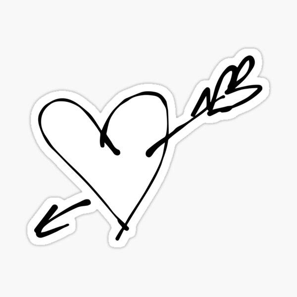 Pierced heart, ink Sticker