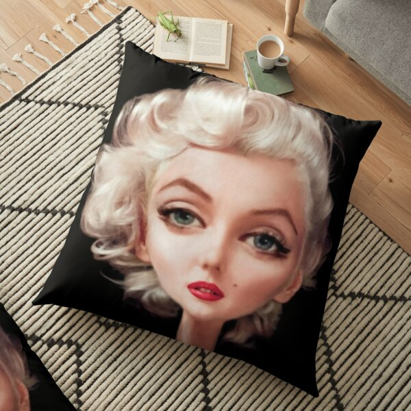 A realistic caricature of Marylin Monroe  Floor Pillow