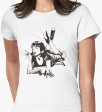 Pulp Movie Illustration Women's Fitted T-Shirt