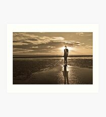 Crosby Beach Iron Man Sunset Sepia Toned Art Print