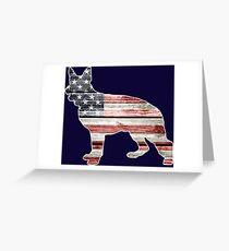 Patriotic German Shepherd, American Flag Greeting Card