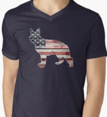 Patriotic German Shepherd, American Flag Men's V-Neck T-Shirt