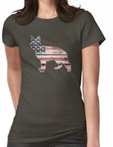 Patriotic German Shepherd, American Flag Womens Fitted T-Shirt