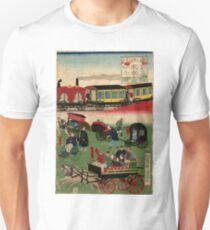Kuniteru Utagawa - Display of Vehicles in Takanawa Tokyo 2 - 1871 - Woodcut Unisex T-Shirt