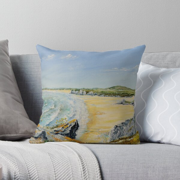 A walk on the Gower. Throw Pillow