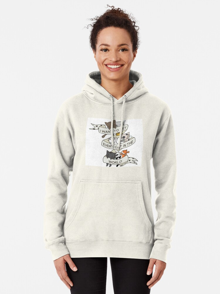 Alternate view of I want to pet every cat in the world! Pullover Hoodie