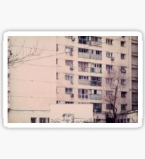 Vintage image of a tall block of flats. Sticker