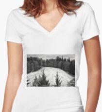 Dark winter landscape. Women's Fitted V-Neck T-Shirt