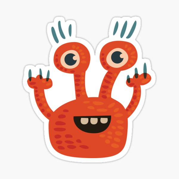 Cute Orange Monster Is Funny Too Sticker