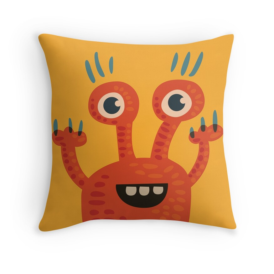 Throw pillow with a cartoon illustration of a funny creature in orange and yellow at Redbubble