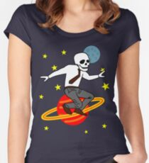 Space Office Skeleton Women's Fitted Scoop T-Shirt