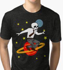 Space Office Skeleton Tri-blend T-Shirt