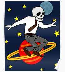 Space Office Skeleton Poster
