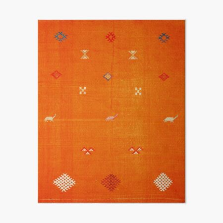 Orange Bohemian Oriental Traditional Berber Moroccan Style  Art Board Print