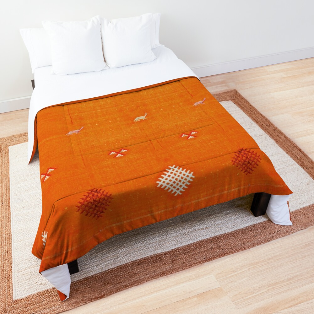 Orange Bohemian Oriental Traditional Berber Moroccan Style  Comforter