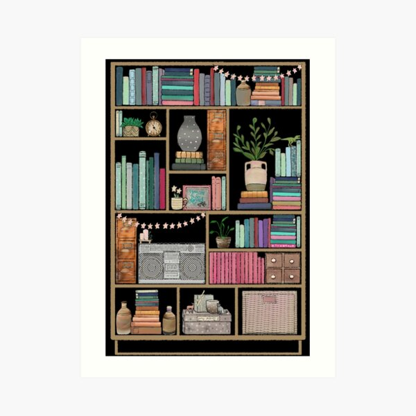 Boho Bear Book Shelf No. 2 Art Print