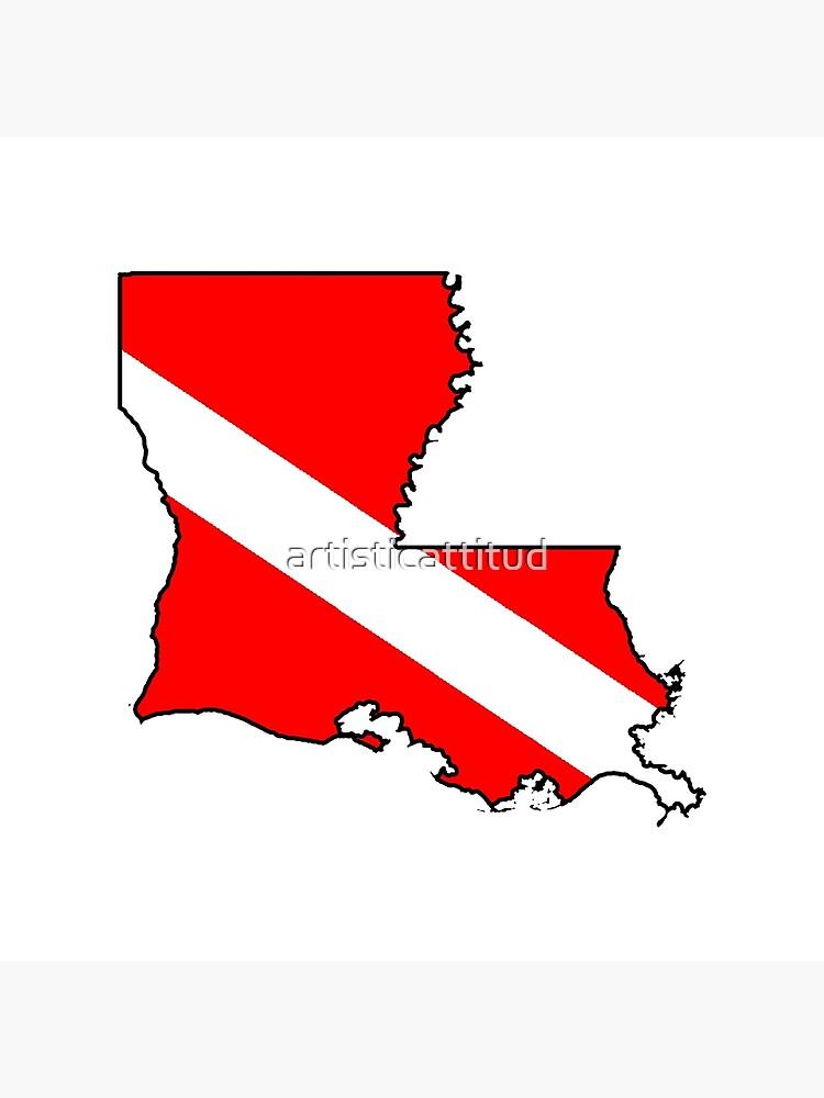 Dive flag Louisiana outline by artisticattitud