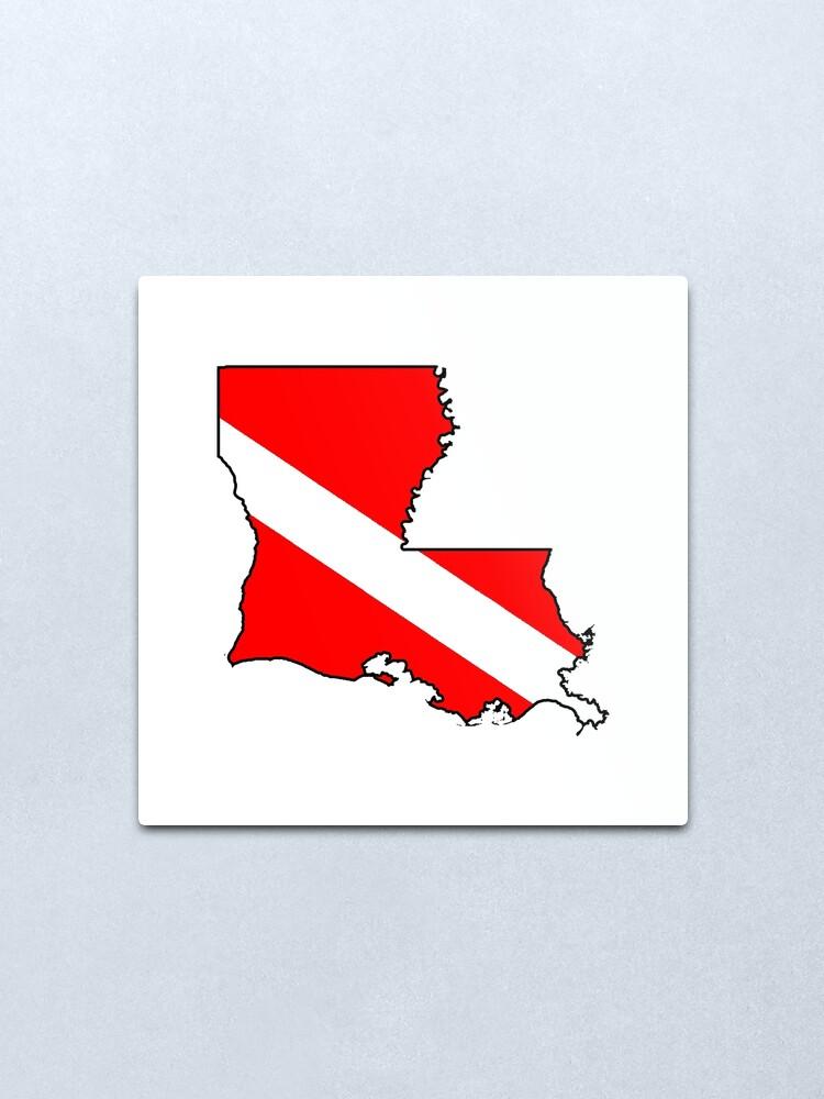 Alternate view of Dive flag Louisiana outline Metal Print