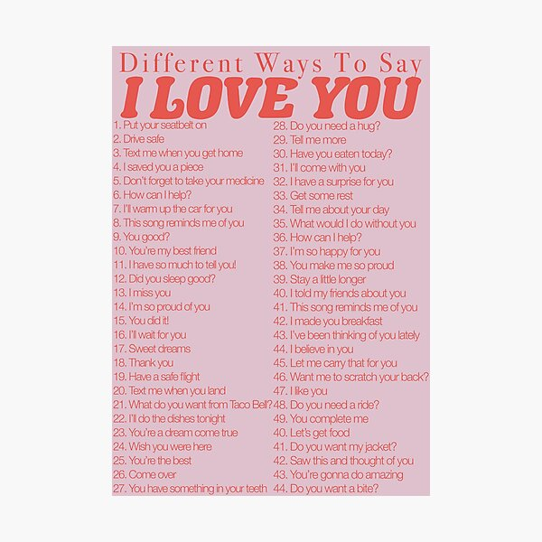 Different Ways to Say, I Love You Photographic Print