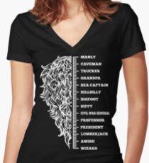 Beard menscale Women's Fitted V-Neck T-Shirt
