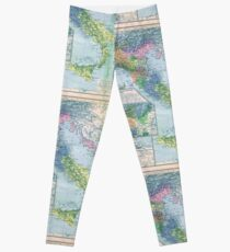 Vintage Italy Map Leggings