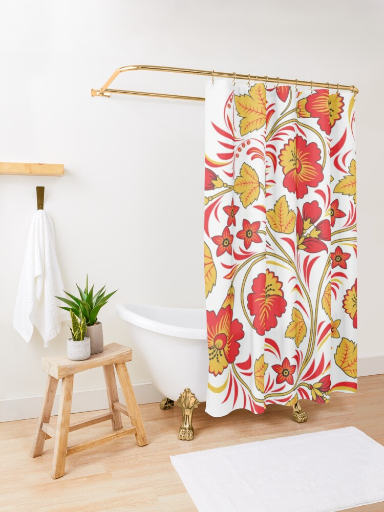Alternate view of Patterns of the Russian North - Узоры русского севера Shower Curtain