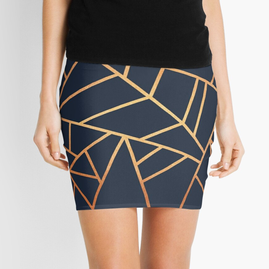 Copper and Midnight Navy Mini Skirt
