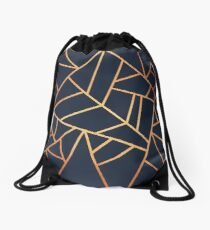 Copper and Midnight Navy Drawstring Bag