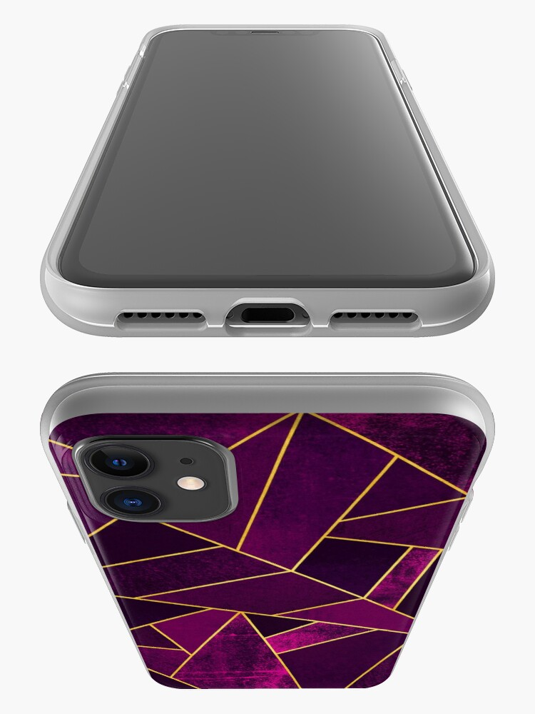 Alternate view of Purple Stone / Gold Lines iPhone Case & Cover