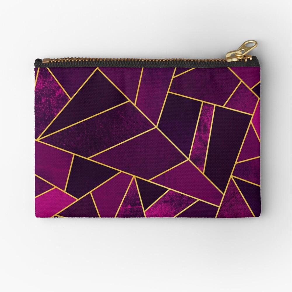 Purple Stone / Gold Lines Zipper Pouch