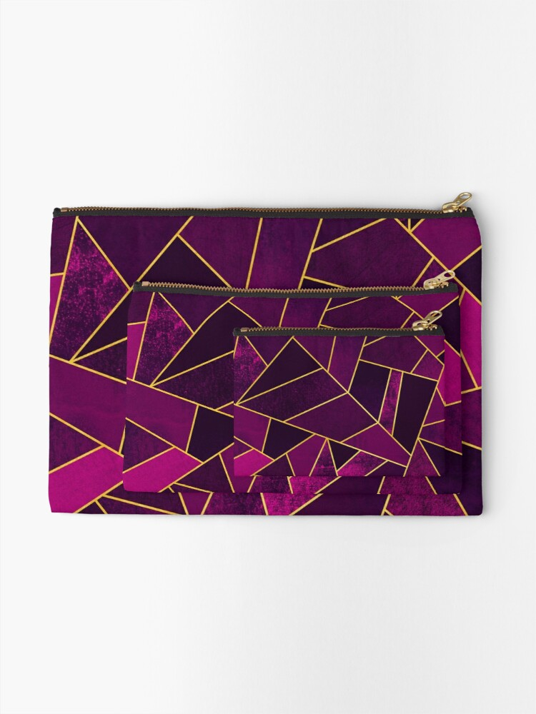 Alternate view of Purple Stone / Gold Lines Zipper Pouch