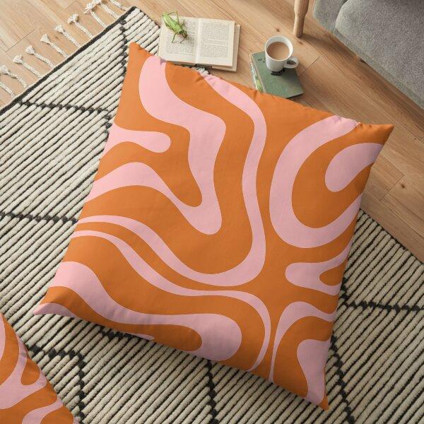 Liquid Swirl Retro Abstract Pattern in Orange and Pink Floor Pillow