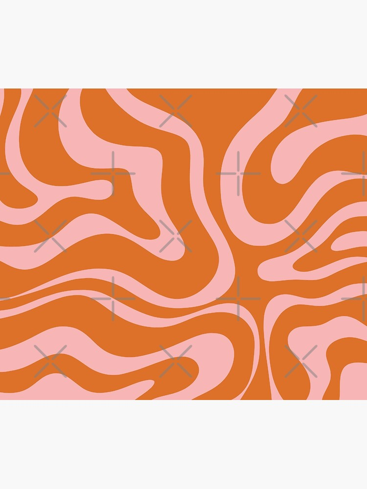Liquid Swirl Retro Abstract Pattern in Orange and Pink by kierkegaard