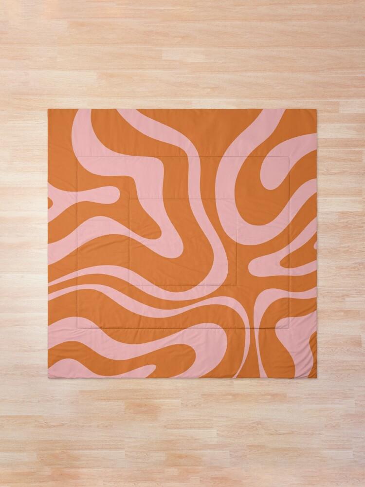 Alternate view of Liquid Swirl Retro Abstract Pattern in Orange and Pink Comforter