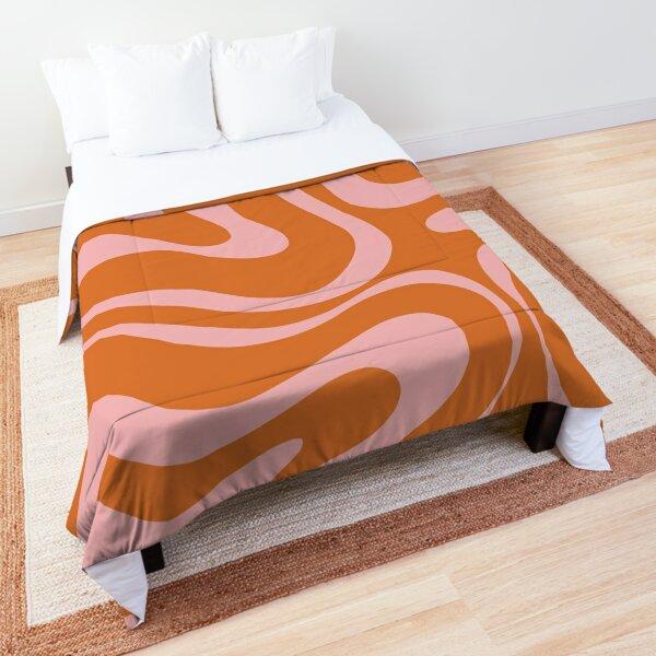 Liquid Swirl Retro Abstract Pattern in Orange and Pink Comforter