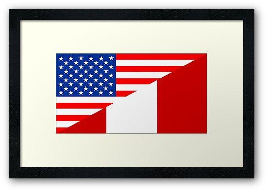 """usa peru half flag"" Framed Prints by tony4urban | Redbubble"