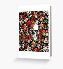 In bloom floral skull Greeting Card