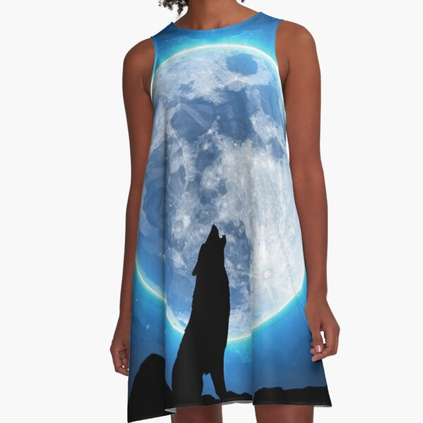 Wolf Howling At The Moon A-Line Dress