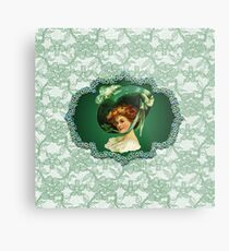 St. Patricks Day Lady Green Frame & Faux Lace Metal Print