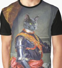Royal Cat Portrait Graphic T-shirt 1761 Year oil canvas style Graphic T-Shirt