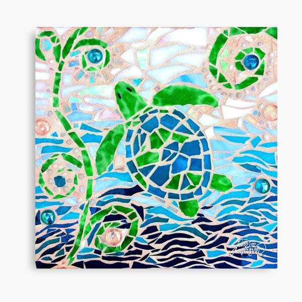 Turtle Mosaic Turquoise Canvas Print