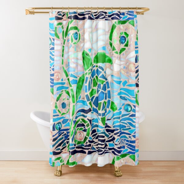 Turtle Mosaic Turquoise Shower Curtain