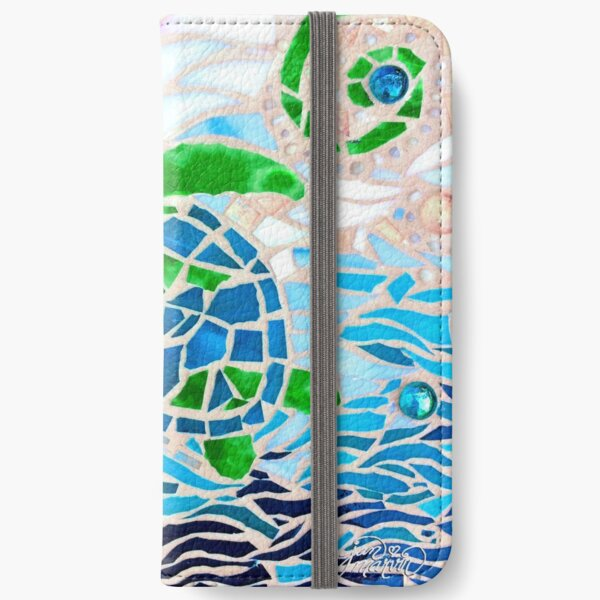 Turtle Mosaic Turquoise iPhone Wallet